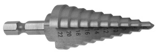 Stepped drill hexagonal shank